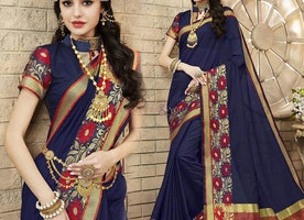 Fashionable Blue Raw Silk Trendy Saree Having Chinese Collar Blouse