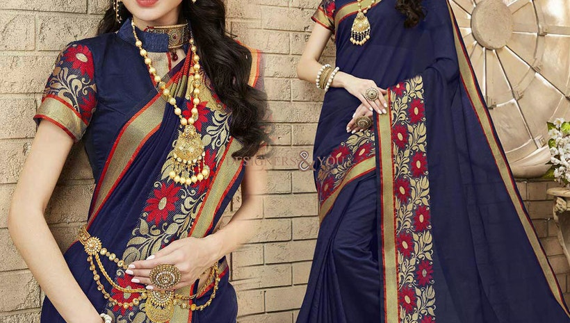 ce51c39e9abc3 Fashionable Blue Raw Silk Trendy Saree Having Chinese Collar Blouse ...