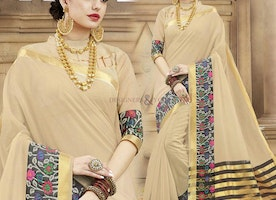 Beautiful Beige Raw Silk Party Wear Sari With Half Sleeves Blouse