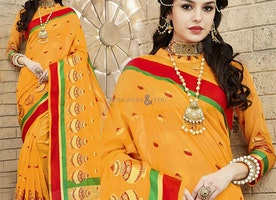 Attractive Yellow Raw Silk Party Wear Saree With Three Fourth Sleeves