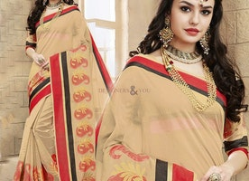 Engaging Beige Raw Silk Fancy Saree Online With Square Neck