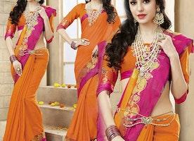 Ravishing Orange Raw Silk Modern Saree Having Queen Anne Neckline