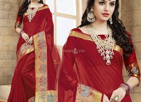 Ineffable Red Raw Silk Stylish Saree Blouse Having Scoop Neckline