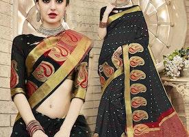 Gorgeous Black Raw Silk Fancy Sari Online Having Boat Neckline