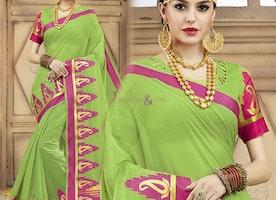 Graceful Green Raw Silk Trendy Sari With Blouse Having Round Neckline