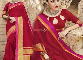 Pleasing Maroon Raw Silk Modern Sari Having Broad Printed Border