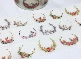 animal flower wreath washi tape 5Mx2cm cartoon fox bird panda squirrel rabbit flower garden forest animal masking tape sticker animal theme