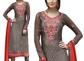 Irresistible Brown Brasso Aline Cut Pakistani Dress Online Shopping