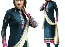 Artistic Green Brasso High Neck Designer Pakistani Suit Online
