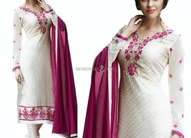 Exquisite Off White Brasso Embroidered Aline Dress Pakistani Boutique