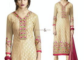 Aesthetic Cream Brasso Floral Worked Latest Pakistani Party Dress