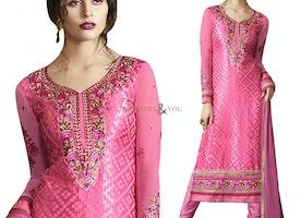 Divine Pink Brasso V Neckline Pakistani Fashion Straight Suit
