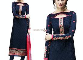 Nice Blue Brasso Stylish Pakistan Dress Design Salwar Kameez Uk