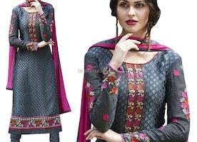 Comely Grey Brasso Scoop Neckline Pakistani Designer Dress