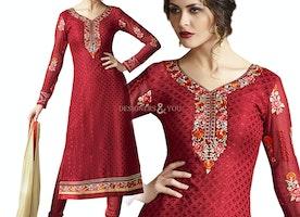 Prepossessing Red Brasso V Neckline Beautiful Pakistani Dress Design