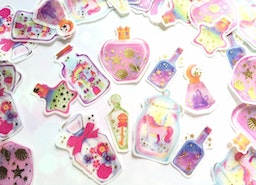 48 magic bottle sticker mini bottle art animal bottle flake sticker fancy star golden shell flying horse fairy tale themed deco sticker