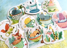 forest animal sticker animal in cup animal mug cat dog duck fox sea seal farm squirrel cute pet animal label sticker kids diary sticker gift
