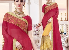 Graceful Red And Yellow Georgette Indian Half Sari With Gota Blouse