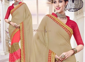 Beautiful Beige And Peach Half Sari Blouse High Neck Pattern