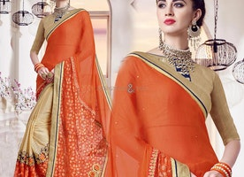 Attractive Beige And Orange Half Sari Online Boat Neck Style