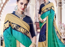 Engaging Green And Blue Georgette Half And Half Sari With Gota Blouse