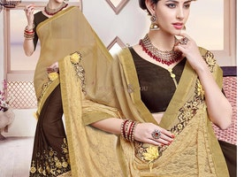 Ineffable Beige And Brown Georgette Half Sari Design With Gota Blouse