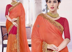 Gorgeous Orange And Pink Georgette Half Saree Blouse Having V Neck