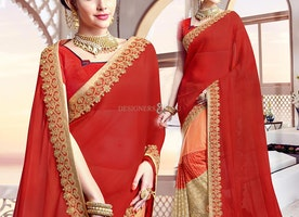 Graceful Red And Peach Half Sari Blouse Surplice Neckline Style