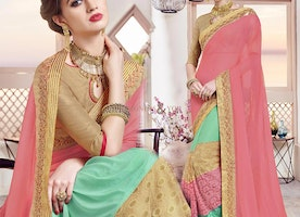 Ravishing Peach And Sea Green Half And Half Saree Boat Neck Style
