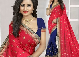 Likeable Red And Blue Georgette Half And Half Saree With Short Sleeves