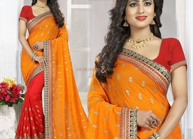 Lovable Orange And Red Georgette Half And Half Sari Having Open Back