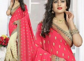 Magnetic Peach And Cream Georgette Embroidered Half Saree Design