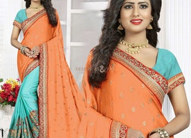 Enchanting Orange And Sky Blue Raw Silk Embroidered Half Saree Online