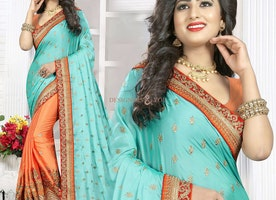 Captivating Orange And Sky Blue Raw Silk Embroidered Modern Half Sari