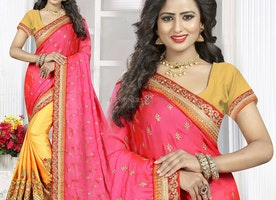 Fascinating Pink And Yellow Raw Silk Embroidered Modern Half Saree
