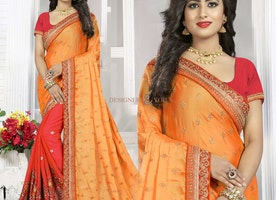 Chic Orange And Red Raw Silk Indian Half Saree With Scoop Neckline