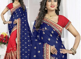 Smart Blue And Red Georgette Indian Half Sari With Scoop Neckline