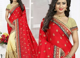 Stylish Cream And Red Georgette Half Sari Blouse With Scoop Neckline