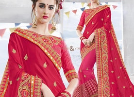 Stunning Pink And Red Chiffon And Net Half And Half Sari