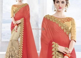 Irresistible Orange And Cream Chiffon And Net Half Sari Online