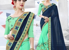 Artistic Sea Green And Blue Georgette Half Saree Design