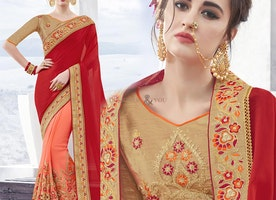Exquisite Red And Peach Chiffon And Georgette Half Sari Design