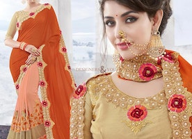 Divine Orange And Peach Georgette Latest Half Saree With Laced Border
