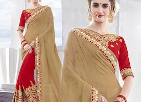 Striking Beige And Red Georgette Half And Half Saree Having V Neck
