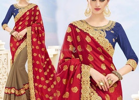 Bewitching Red N Beige Banarasi Silk Embroidered Half Sari Online