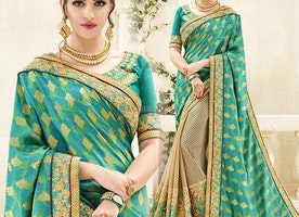 Good Looking Green N Beige Banarasi Silk Half And Half Sari