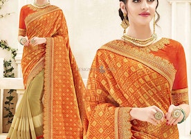 Lovely Orange N Beige Banarasi Silk Embroidered Half And Half Saree