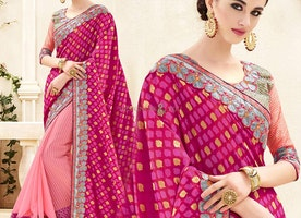 Beguiling Purple N Pink Banarasi Silk Embroidered Half Sari Design
