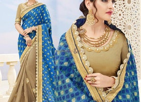 Appealing Blue N Cream Banarasi Silk Embroidered Half Saree Blouse