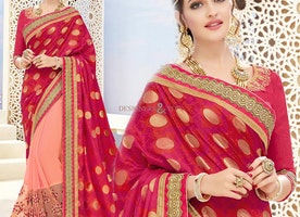Gorgeous Red N Peach Banarasi Silk Embroidered Half Sari Blouse